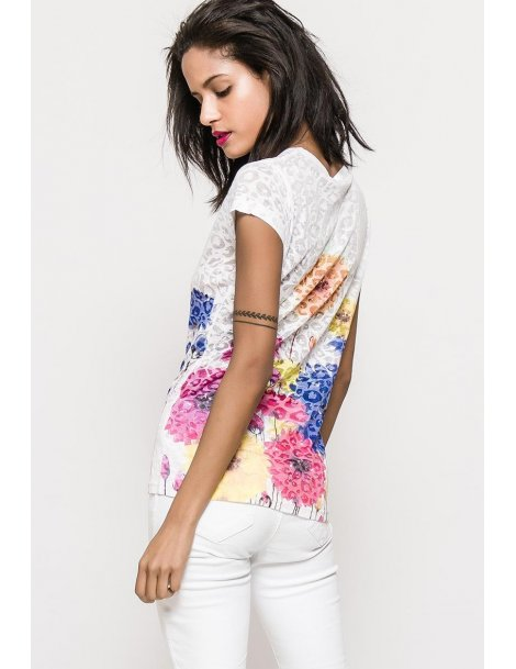 t-shirt burn out fleurs - col V