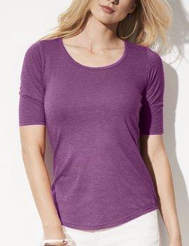 Deep scoop neck, half sleeves tee shirt