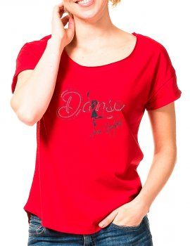 Guylaine Bourdages - Red Loose Fit Tee - Black design