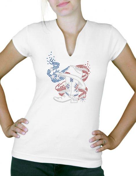 American boot- T-shirt femme Col V