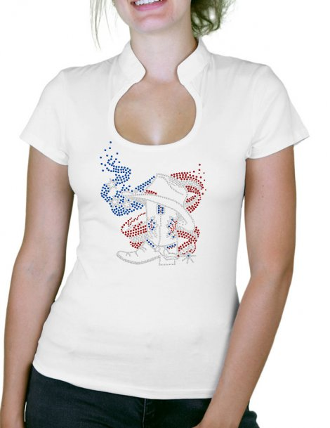 American Boot - T-shirt femme Col Omega