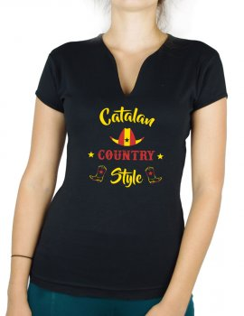 Catalan country style - T-shirt femme Col V