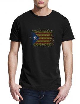 Drapeau catalan en strass - T-shirt homme col rond
