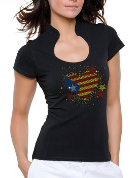 Coeur catalan Strass - T-shirt femme Col Omega