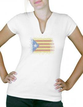 Rhinestone catalan flag - Lady V neck