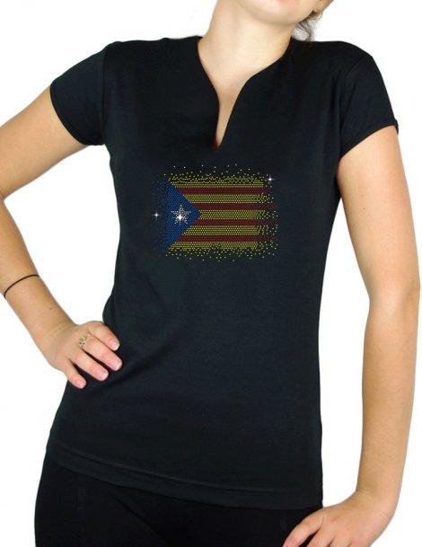Drapeau catalan en strass- T-shirt femme Col V
