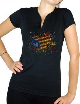 Coeur catalan strass- T-shirt femme Col V