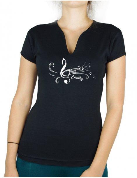 White treble clef- Lady V neck