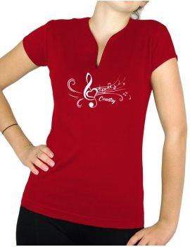 Clé de sol Blanche - T-shirt femme Col V