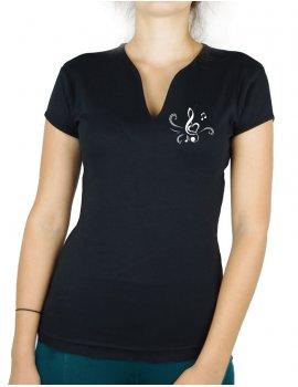 Clé de sol Coeur - T-shirt femme Col V