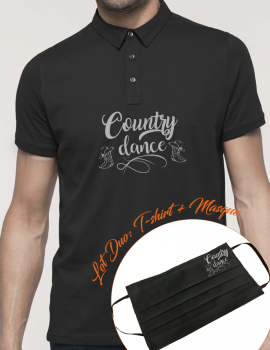 COUNTRY DANCE-LOT DUO Polo homme et masque assorti