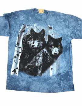 T-shirt deux loups noirs - The Mountain