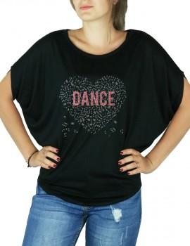 Coeur de muisque DANCE - T-shirt femme Manches Chauve Souris