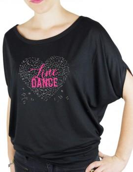Coeur de musique lINE DANCE- T-shirt femme Manches Chauve Souris
