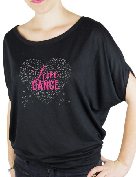 music heat with Line DANCE- Bat Sleeves Women's T-Shirt