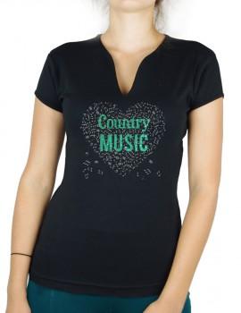 Coeur de musique Country-T-shirt femme col en V