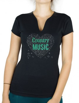 music heat with COUNTRY- Lady V neck