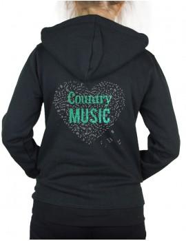 Coeur de musique COUNTRY- Veste à capuche Femme