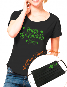 Happy st patrick - LOT DUO Tee shirt LOOSE FIT et masque