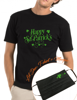 happy st Patrick LOT DUO Tee shirt homme et masque assorti