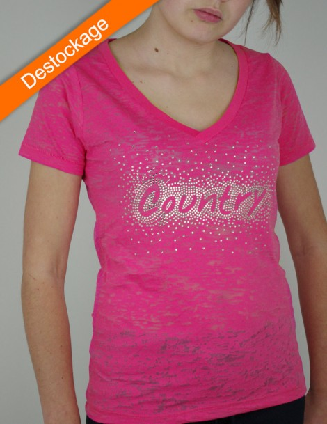 COUNTRY Rhinestone - burn out pink