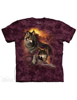Wolf Sunset -T-shirt loup - The Mountain