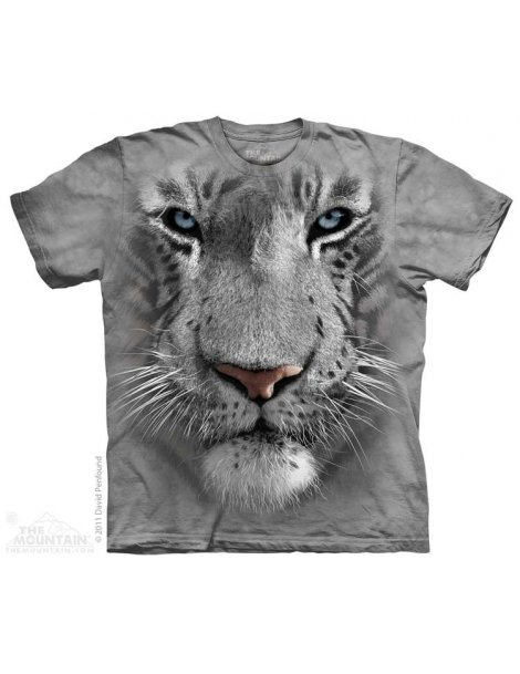 White tiger big face t-shirt the mountain