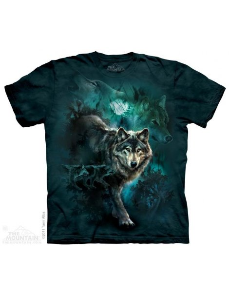 Night Wolves Collage - T-shirt loup - The Mountain