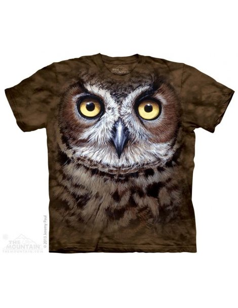 Great Horned Owl Head - T-shirt hibou - The Mountain
