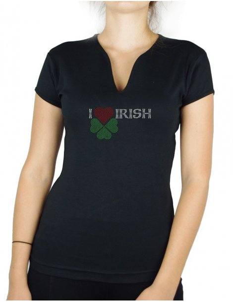 t-shirt strass I-love-irish