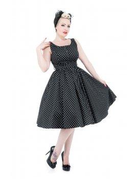 Robe - Sleeveless Black White Polka Dot