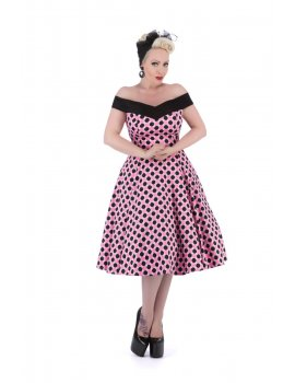 Robe - 50s Dolores Black Pink Polka Dot V
