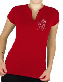 Mini Cheval Strass - T-shirt femme Col V