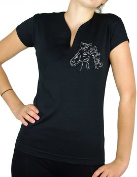 Tête de cheval strass - T-shirt femme Col V