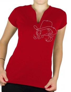 Calamity strass - T-shirt femme Col V