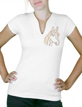 Pony rhinestone - Women's V-neck T-shirt