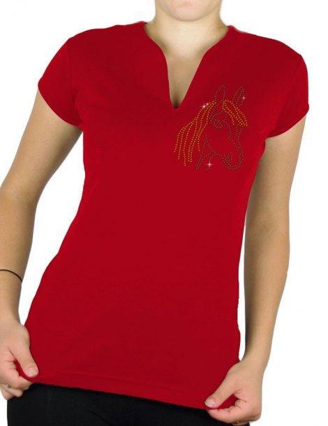 tete de poney - T-shirt femme Col V