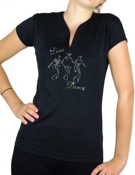 danseur line dance strass - T-shirt femme Col V