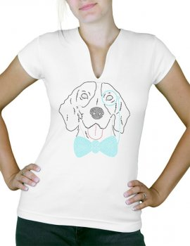 Chien monocle strass - T-shirt femme Col V
