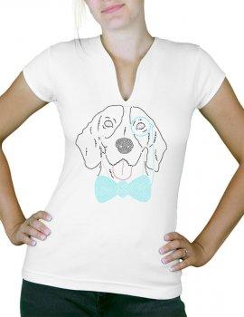 Dog monocle rhinestone - Women's T-shirt Col V