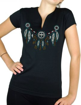 Collier indien strass - T-shirt femme Col V