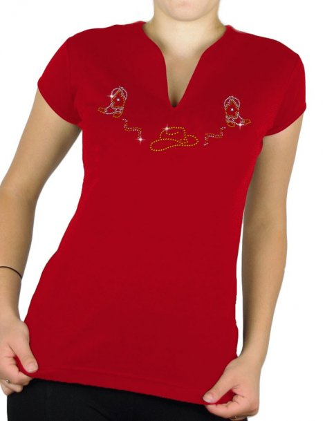 Hat and boots strass - T-shirt femme Col V