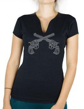 Pistolet strass - T-shirt femme Col V