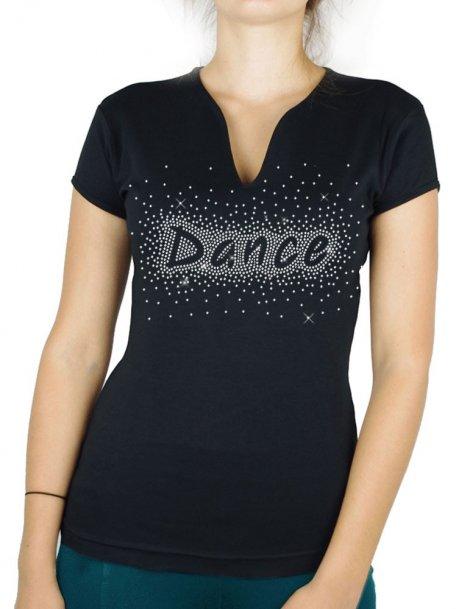 Danse eclaté strass - T-shirt femme Col V