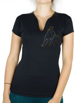 Cheval au galop strass - T-shirt femme Col V