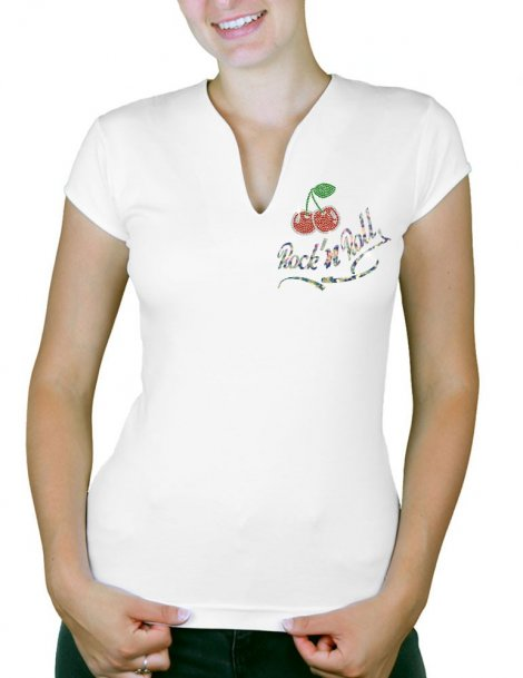 Cherry Rock'n Roll - Women's V-Neck T-shirt