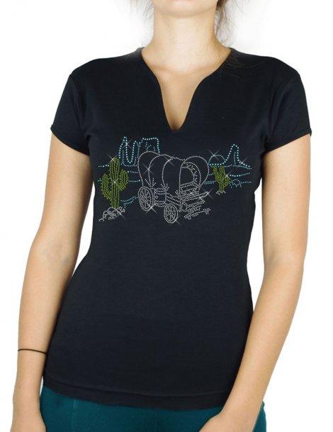 Paysage Western - T-shirt femme Col V