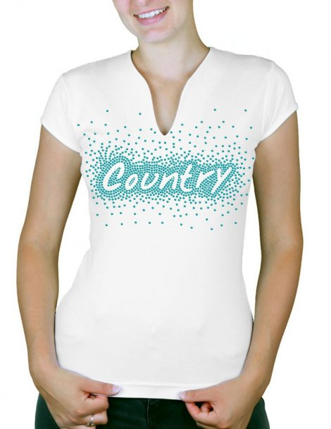 Country éclaté - T-shirt femme Col V