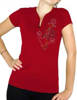 Ancre marine - T-shirt femme Col V