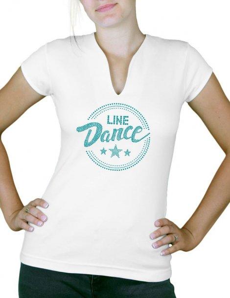 Macaron line dance épuré - T-shirt femme Col V